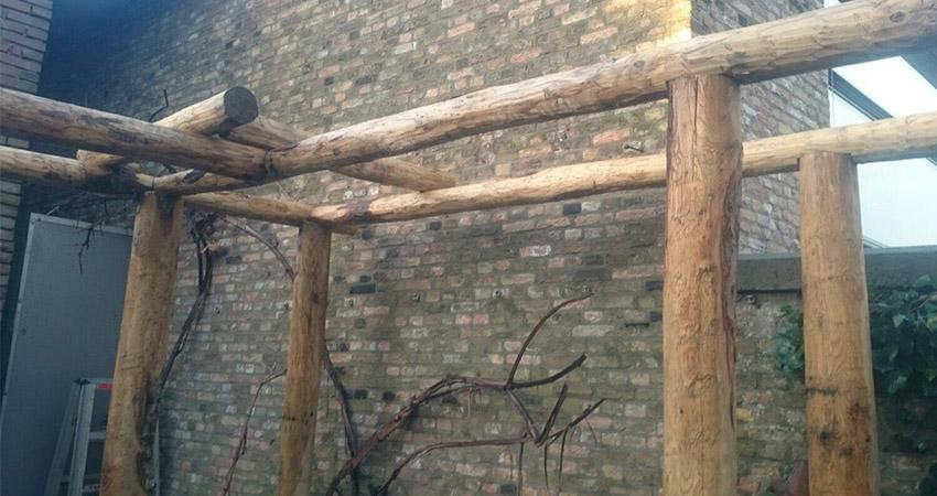 Pergola: Rondpalen kastanjehout