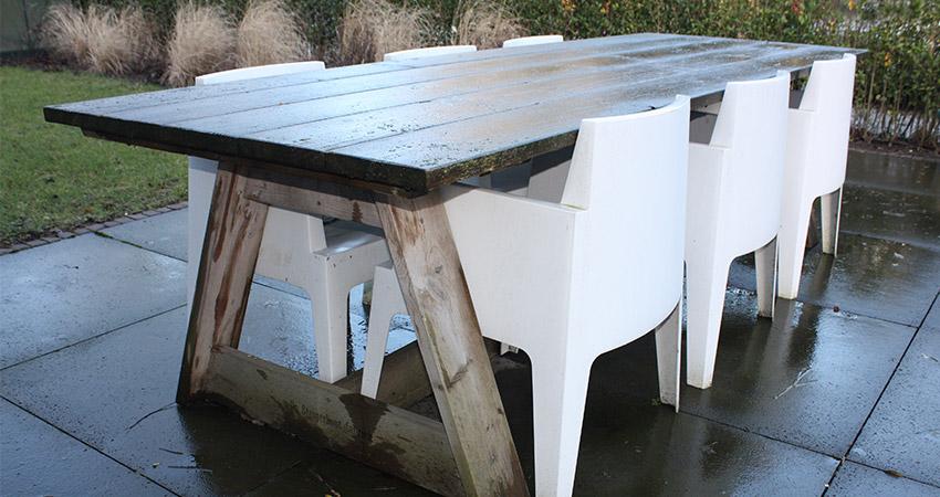 Tuinmeubelen: Steigerhout / kunststof